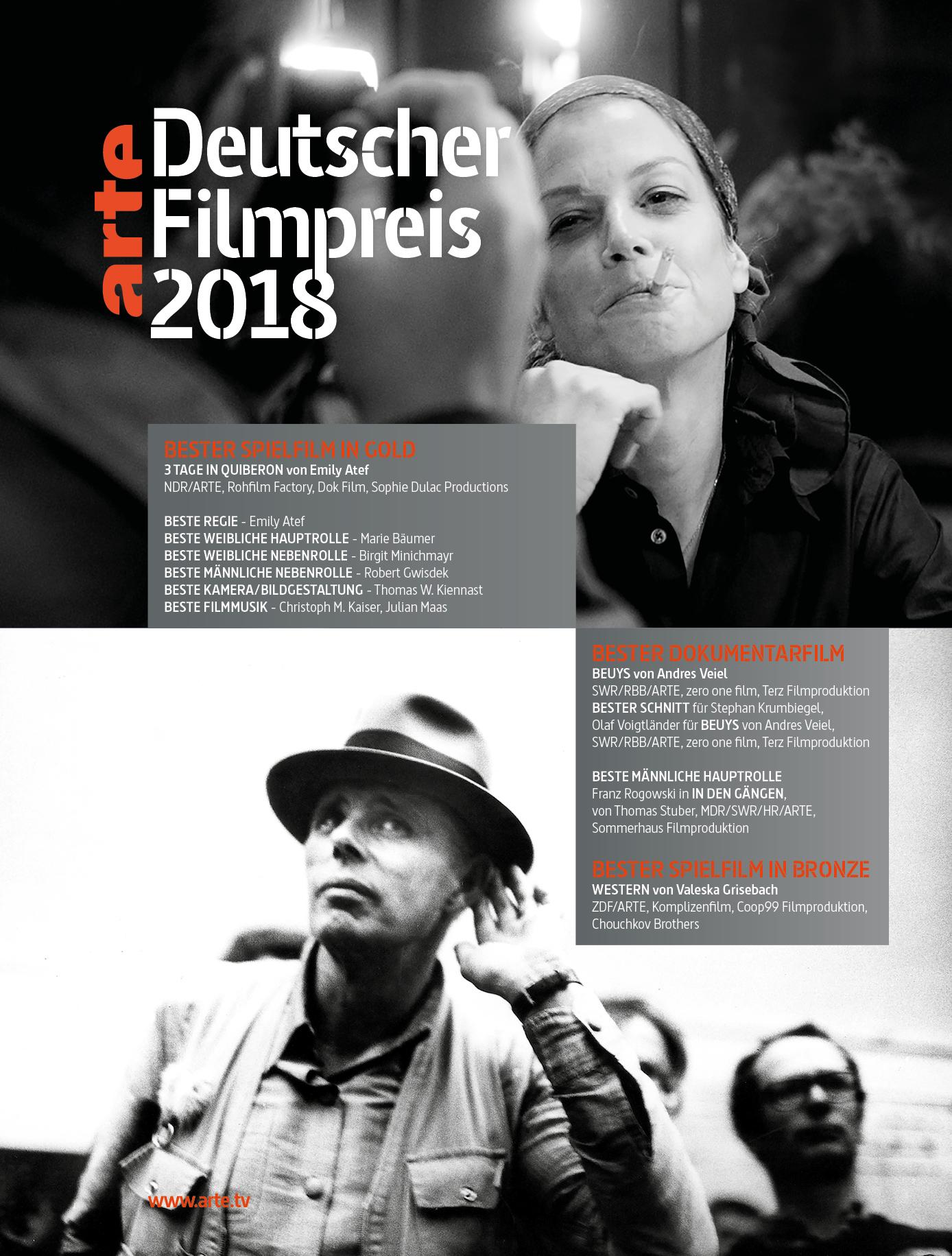 ARTE : Deutscher Filmpreis 2018